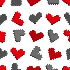 Wall Murals Pixel Pixel hearts seamless background pattern. Vector illustration.