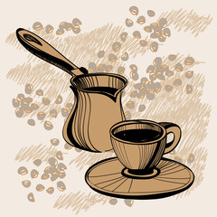 Sketch of  turkish cezve  and cup with some coffee beans