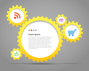 Abstract speech clouds of gear wheels with media icons. Template