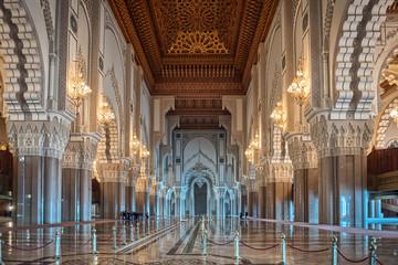 Papiers peints Maroc Hassan II Mosque interior corridor Casablanca Morocco