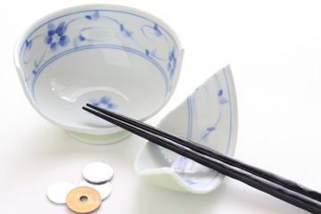 Broken rice bowl and japanese yen for investment risk image