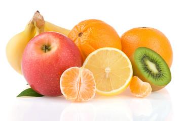 fresh tropical fruits juice isolated on white background