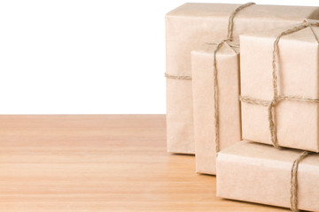 parcel wrapped box isolated on white