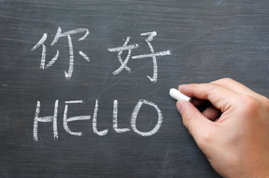 Hello - word written on a smudged blackboard