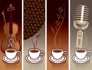 four banner with a cup of coffee and musical equipment