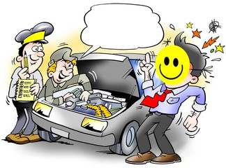 Smiley Inspection of an Car