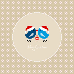 2 Blue Birds Flying Holding Christmas Gift Dots Frame