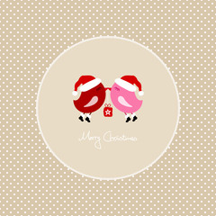 2 Pink Birds Flying Holding Christmas Gift Dots Frame