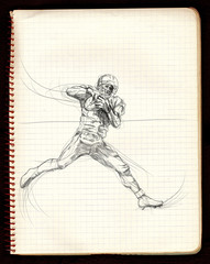 american football game (running player) - black lines variation