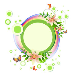 Background with flowers, butterflies  and rainbow