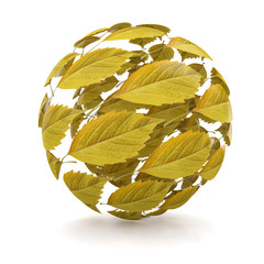 Autumn. Sphere from yellow leaf