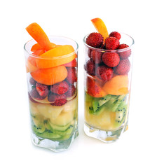 Fruit cocktail: pineapple, kiwi, strawberry, apricot