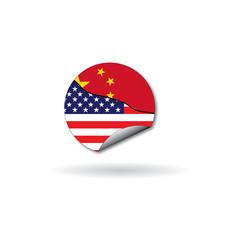 detached round sticker flag china vs usa