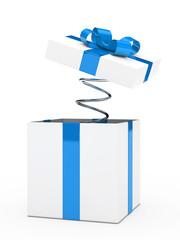 gift box blue white