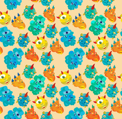 Door stickers Creatures colorfull monster seamless pattern
