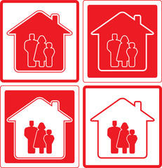 set red icon with family and home silhouette