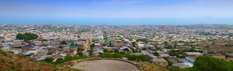 Panorama of Derbent - 5000 years old town. Dagestan. Russia.