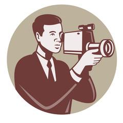 Photographer Shooting Video Camera Retro