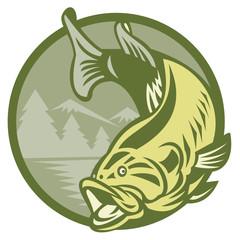 Canvas Prints Draw Largemouth Bass Fish Jumping Retro