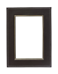 Leather frame on white background