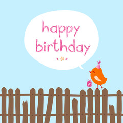 "Orange Bird Gift Fence Speech Bubble ""Happy Birthday"" Blue"