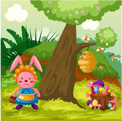 Photo sur Plexiglas Monde magique Cute rabbit in the jungle