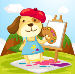Poster Dogs Artist dog painting