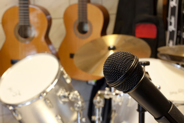 microphone and drums in studio