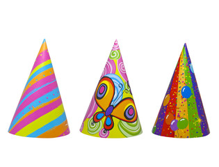 Set of party hats isolated
