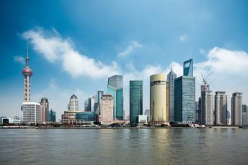 Aluminium Prints Shanghai shanghai against a blue sky