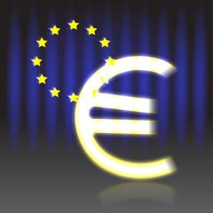 Euro sign on a euro flag background