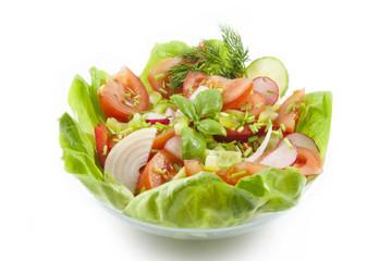 fresh spring vegetables salad in bowl