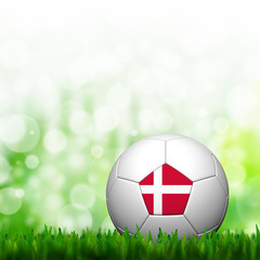 3D Football Denmark Flag Patter in green grass and background