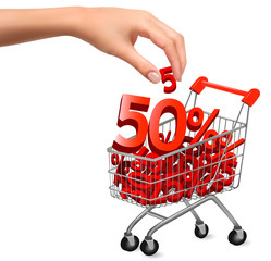 Concept of discount  Shopping cart with sale