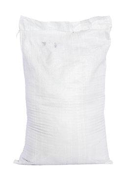 White canvas sack with full fertilizer isolated on white backgro