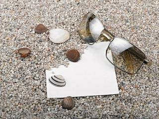 Shells, starfish ,blank paper sheet and sunglasses