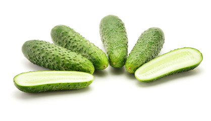 Fresh raw cucumbers isolated on white