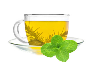 cup of green tea with mint isolated on white