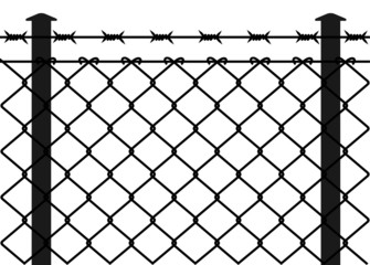 Wire fence with barbed wires