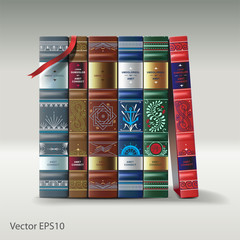 Row of ornamented vintage books, vector Eps10 ilmage