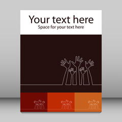 Simple line illustration of hands leaflet design.