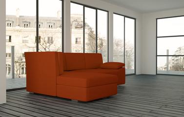 Rotes Sofa im Loft