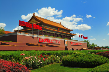 In de dag Beijing China's flag construction Tiananmen Gate