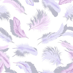 Decorative seamless background with tender light feathers.