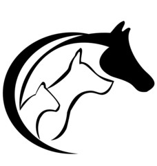 Horse dog and cat logo silhouette vector