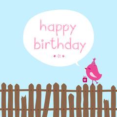 "Pink Bird Gift Fence Speech Bubble ""Happy Birthday"" Blue"