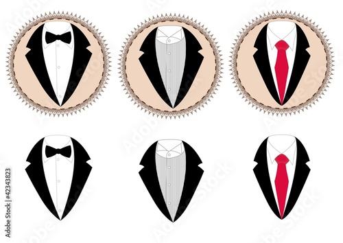 """vector Jacket, Shirt, Tie And Bow Tie"" Imagens E Vetores"