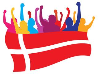 Denmark fans vector illustration
