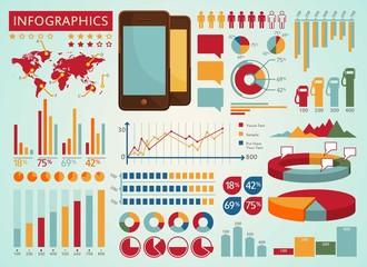 colorful retro info graphics