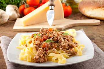 Fettuccine with meat sauce
